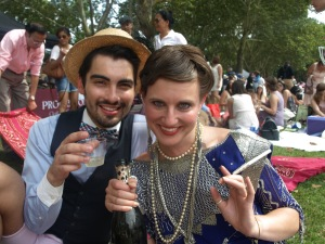 Andrew, Laura, and champers.