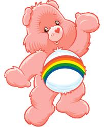 Cheer Bear the Care Bear gives a thumbs up to our eye shadow thief, because she is a sweet rainbow bear and appears to only have thumbs.